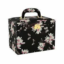 Large Black Butterfly Printed Faux Leather Jewellery Box by Aevitas