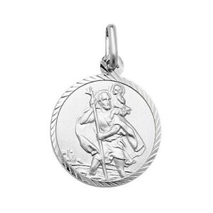925 Genuine Sterling Silver St Christopher Diamond Round Pendant ALL SIZE