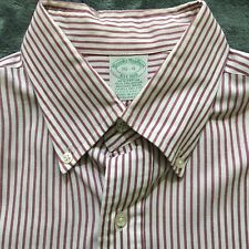 Brooks Brothers Striped Red White Button Shirt Long Sleeve Size 16-4 A01