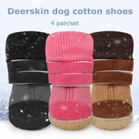 4pcs Pet Dog Shoes Winter Anti-Slip Snow Boots Puppy Warm Cotton Knitted Booties