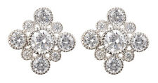 CLIP ON EARRINGS - silver luxury earring with Cubic Zirconia stones - Noma S