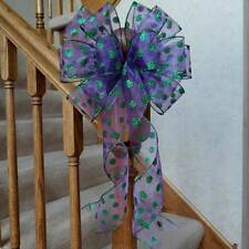 "10"" W SHEER PURPLE BOW WITH GREEN GLITTERED DOTS~ MARDI GRAS HALLOWEEN WREATHS"