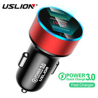 USLION Double USB Car Charger QC 3.0 Fast Charging LED Adapter For Cell Phone