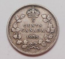 1905 Five Cents Silver F+ Very Nice BETTER Date Edward VII Canada 5¢ Half Dime