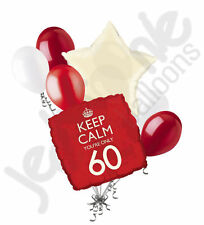 7pc Red Keep Calm You're Only 60 Happy Birthday Balloon Bouquet Party Decoration