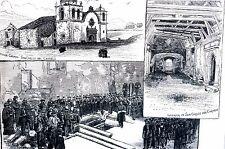 Monterey California 1884 MISSION CHURCH of SAN CARLOS DEL CARMELO Matted Print