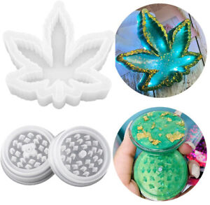 Herb Grinder + Maple Leaf Ashtray Silicone Resin Casting Mold Epoxy Mould Tool
