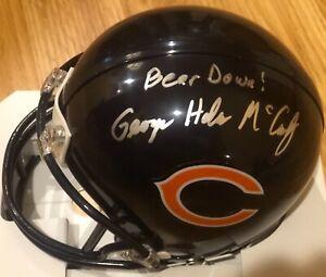 GEORGE HALAS McCASKEY Signed Auto CHICAGO BEARS Riddell Mini Helmet  BEAR DOWN
