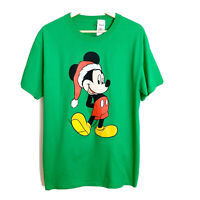 Disney Mickey Mouse In Santa Hat Christmas holiday Green T-shirt Size Medium