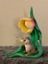 Fitz And Floyd Charming Tails Mouse On Leaf With Pretty Flower Figure