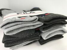 FILA Socks - Boys  Gray Charcoal Crew Socks - 6 PACK - size 4 to 10 - $36 MSRP
