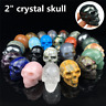 "TOP! 2"" Natural Crystal Skull Hand carved Quartz  Skull Reiki Healing Gift 1pc"