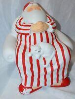 Department 56 Ceramic Santa Claus Figurine Sitting in Pajamas with White Cat