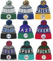 "NBA Mitchell and Ness Pom ""High 5"" Vintage Cuffed Knit Hat Beanie Cap KJ46Z M&N"