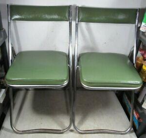 2 Vintage 1970s Mid Century Fujiset Green Vinyl Chrome Folding Chairs Japan