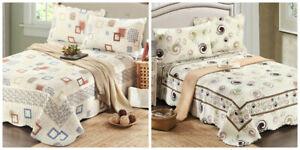 Tache Cotton Geometric Ivory White Retro Vintage Coverlet Quilt Bedspread Set