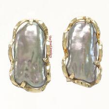 14k Yellow Solid Gold Omega Clip; Genuine 8x16mm Black Biwa Pearl Earrings