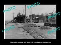 OLD LARGE HISTORIC PHOTO OF LAKEWOOD NEW YORK, ERIE RAILROAD DEPOT STATION c1900