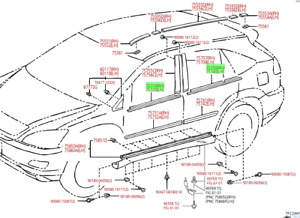LEXUS OEM FACTORY DOOR BELT MOULDING SET (SET OF 4) 2004-2009 RX330 / RX350