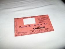 Vintage Souvenir Paper Perforation Gauge 1958 Compex Peerless On-The-Nose Pal
