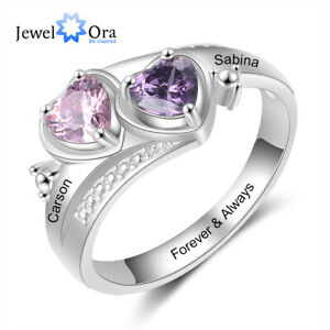 Personalized Promise Couple Ring Silver Customied Engraved Names With Birthstone