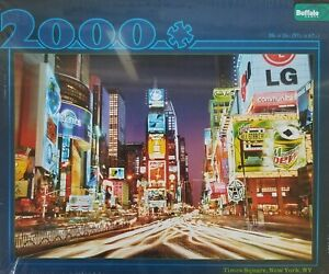 Buffalo Games 2000 Piece Puzzle TIMES SQUARE NEW YORK Sealed Coke Planters road