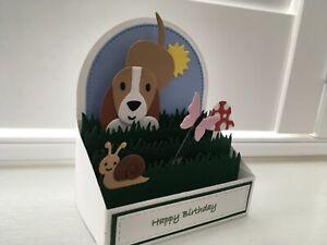 Handmade card pop up card Dog chasing butterfly scene