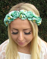 Turquoise Vert Menthe Rose Fleur Serre Tête Guirlande Boho Cheveux Couronne
