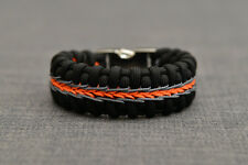 Handmade 100% Belly Fishtail Paracord Bracelet Stitched  Black Orange Gray