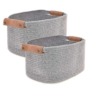 Cotton Rope Decorative Woven Baskets, Vegan Leather Handles Set of 2 in Gray