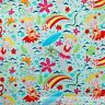 BonEful Fabric FQ Cotton Quilt Aqua Blue Pink Hawaiian Girl Rainbow Flower Beach