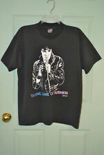 BEST Fruit of the Loom Sz L Vtg 80's Elvis Taking Care of Business Black T-Shirt