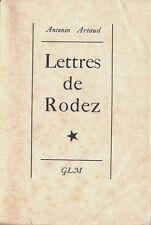 RARE EO N° GLM / GUY LÉVIS MANO  + ANTONIN ARTAUD : LETTRES DE RODEZ