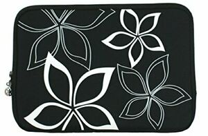 13 inch Black and White Abstract Floral Computer Slipcase