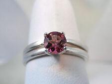 TOURMALINE - Genuine Luscious Pink Sterling Engagement Ring & Wedding Band Set
