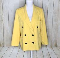 Vintage Escada Margaretha Ley Cashmere Wool Yellow Blazer Jacket Size 40 US 10