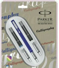 Parker Vector Standard Calligraphy Fountain Pen Set,3 NIBS & 4 CARTRIDGES Blue