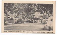 1940s Advertising Postcard Shady Grove Trailer Park Hemet CA