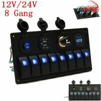 8 Gang LED Rocker Switch Panel Cigarette Voltmeter Dual USB Car Marine Boat