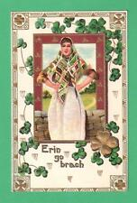 VINTAGE ST. PATRICK'S DAY POSTCARD BEAUTIFUL IRISH LASS SHAMROCKS STONE WALL