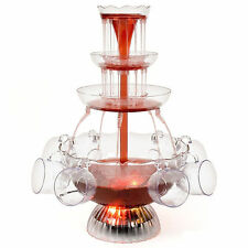 Illuminated Waterfall Cocktail Fountain Party A Punch Juice Wine Drink + Cups