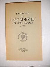 Recueil de l'académie des jeux floraux 1959 Poésie occitan français lyrisme