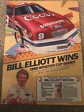Vintage BILL ELLIOTT NASCAR Poster Print Ad #9 COORS WINS 1988 WINSTON CUP RARE