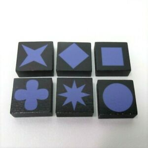 2006 Qwirkle Game Replacement Pieces-Set of 6 Purple Tiles One of Each Shape
