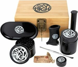 Wooden Bamboo Stash Box Combo Kit with Lock, Grinder, Tray, Storage Tube & More