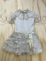 VTG MERRY GIRL PARTY DRESS GIRLS SIZE 7 WHITE LACE SHORT SLEEVE DRESS USA MADE