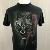 Vintage Wolf T-Shirt Medium Mens Black Single Stitch Graphic Short Sleeve Tee