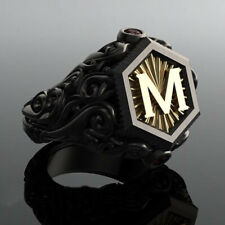 Wedding Jewelry Punk Ring Size 9 Men'S Fashion Black Gold M Letter Zircon
