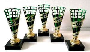 """*BULK DEAL OFFER* 5 x Football Gold & Green 7"""" Trophy FREE Engraving Only £15"""