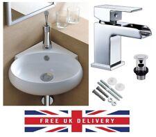 Bathroom Cloakroom Ceramic Compact Corner Small Wash Basin Sink + Waterfall Tap